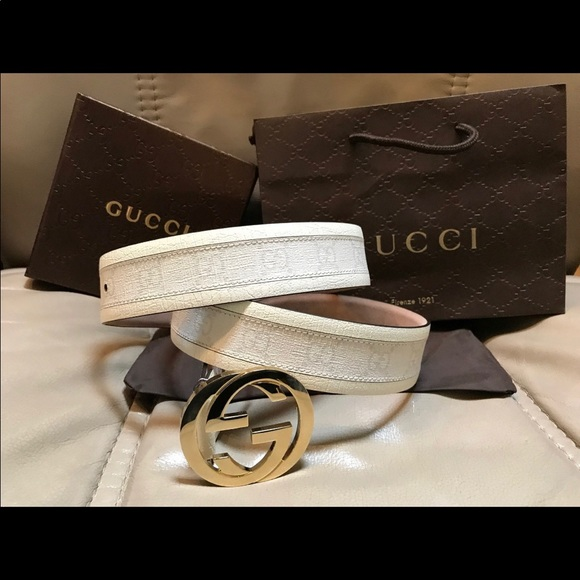 6cafb9dd08e NWT Authentic Men Gucci Belt White Monogram